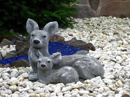 Stone Figures, Figures, Deer, White, Fawn, Wild