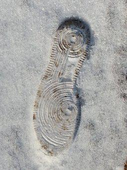Footprint, Snow, Shoe, White, Outline