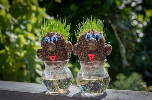Grass, Figurines, Vase, Garden, Green, Toy, Cute