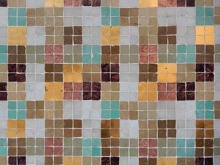 Tiles, Teal, Grey, Brow, Fawn, Gold, Geometric, Pattern