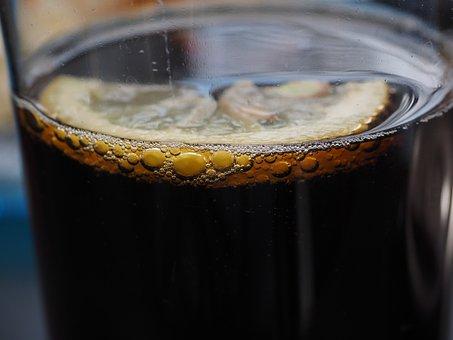 Drink, Cola, Coca Cola, Lemon, Bubbles, Blow