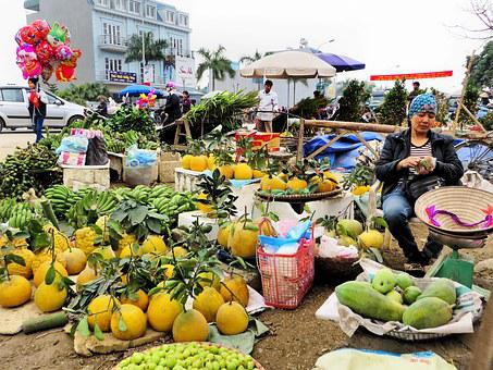Viet Nam, Market, Peasant, Etal, Fruit, Trade, Fund