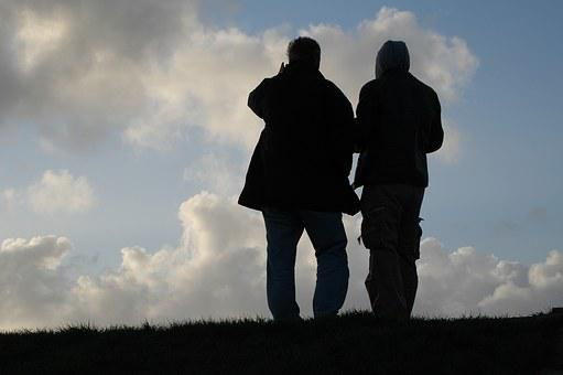 East Frisia, Dike, Men, Opposites, Sky, Atmosphere