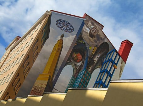 Wall Painting, Multistory House, Art, Illusion, Kotka