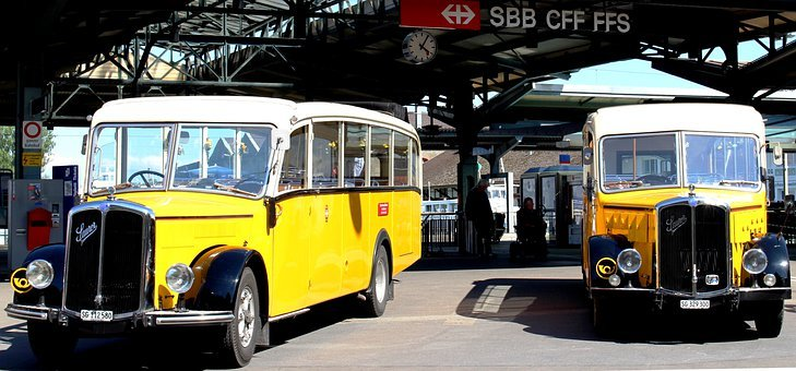Post Cars, Oldtimer, Acid, Diesel, Bus, Railway Station