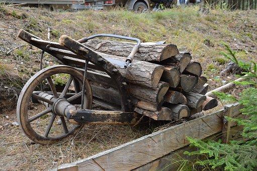 Wood, History, Wheelbarrow, Cargo, Logs, Pila, Round