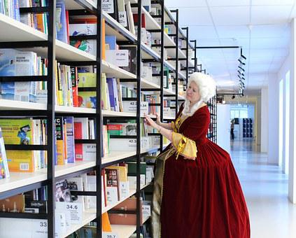 Library, Books, Woman, Queen, Girl, Dress, Wig