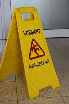 Sign, Risk Of Slipping, Caution, Cleaning, Clean, Wet