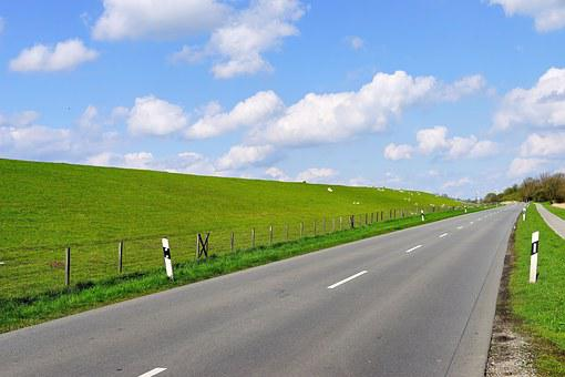 Road, Dike, East Frisia, Sky, Sheep, Water Protection