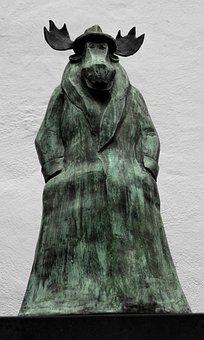 Elk, Statue, Caricature, Sculpture, Bronze, Trenchcoat
