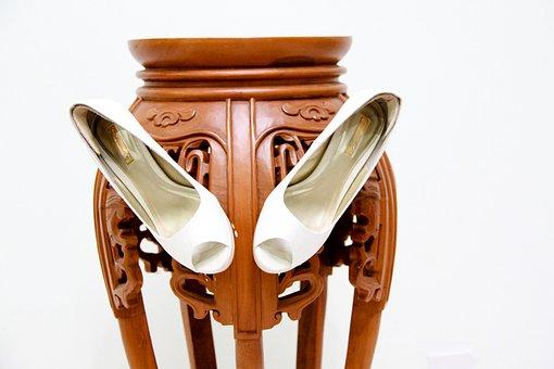 Shoes, White, Heels, Footwear