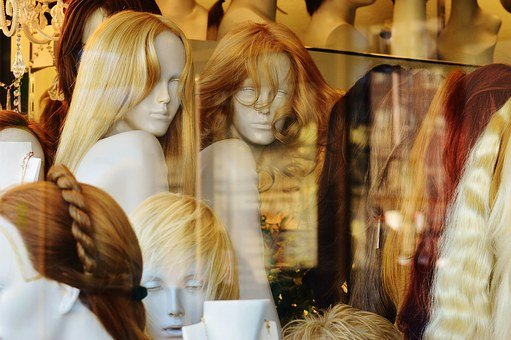 Window, Mannequins, Hairstyles, Wig, Hair, Blond