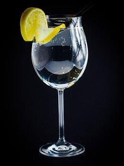 Wine Glass, Lemon, Water Bubbles, Blow, Frisch, Wine