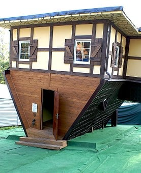 Cottage, Upside-down House, Architecture, A Joke