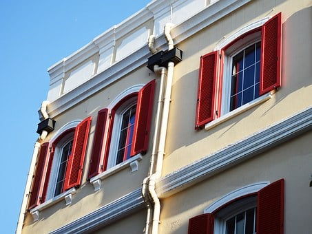 Red, Shutters, Windows, Window, Building, Architecture