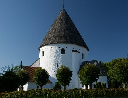Church, Round Church, White, Blue, Bornholm