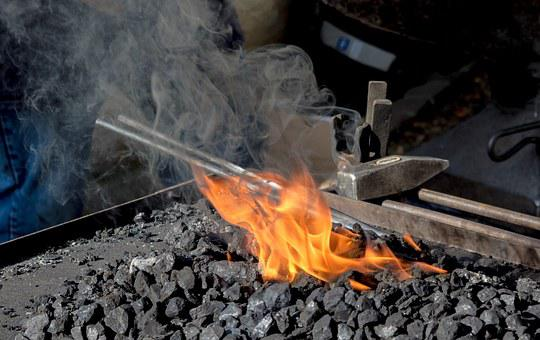 Fire, Iron, Embers, Hammer, Forge, Craft, Art, Glow