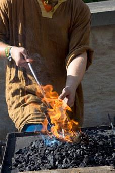 Forge, Craft, Fire, Iron, Embers, Hammer, Art, Glow