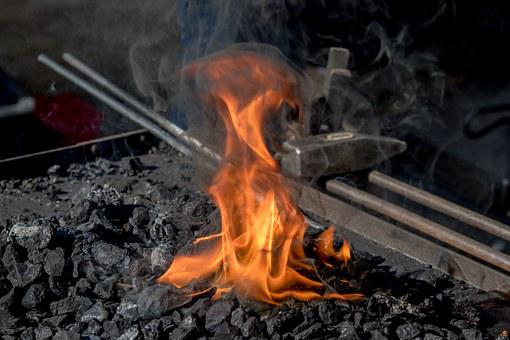 Forge, Fire, Iron, Embers, Hammer, Craft, Art, Glow