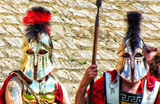 Roman, Grecian, Mask, Spear, People, Males, Man, Helmet