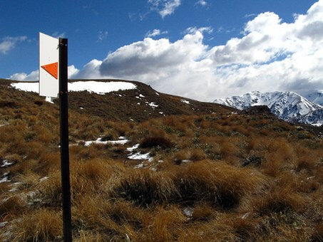 Mountain, Hike, New Zealand, Sign, Path, Landscape, Top