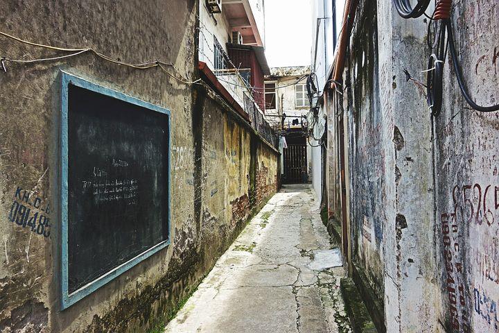 Alley, Lane, Old, Dirty, Grunge, Urban, Nobody, Cracks