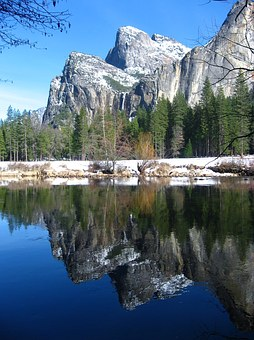 Yosemite, Mountain, Snow, River, Forest, Park, Natural