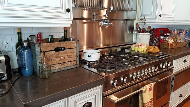 Kitchen, Cooking, Stainless, Stove, Cabinet, Luxury