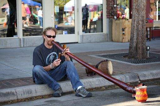 Didgeridoo, Street Music, Man, People, Australian