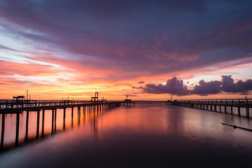 Sunset, Bay, Evening, Water, Sky, Summer, Dusk, Calm