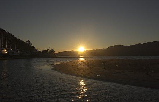 Sundown, Sea, Mountains, Sunset, Water, Sky, Sun