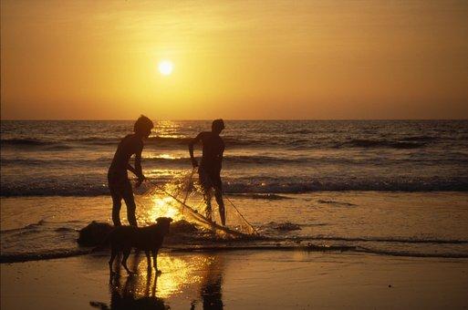 Sunset, Goa, India, Calangute, Sundown, Holiday, Sea