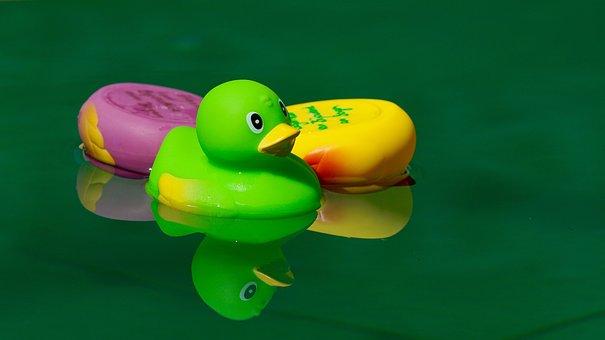 Toys, Squeak Duck, In The Water, Swim, Upside Down