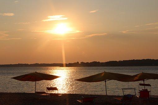 Sunset, Tropical, Resort, Landscape, Orange