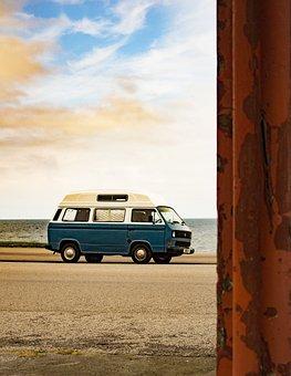 Beach, Van, Rundown, Breakdown, 70s, Car, Vehicle