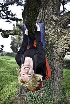 Woman, Tree, Happy, Upside Down, Girl, Young, Female