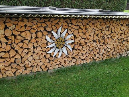 Edelweiss, Wood, Firewood, Art, Holzstapel
