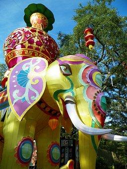 Elephants, Chinese Lantern Festival, Asian, Celebration