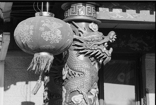 Chinese, Lantern, Motives, Dragon, Asian, Old