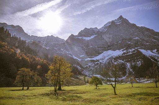 Karwendel, Alpine, Back Light, Mountains, Trees, Autumn