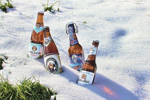 Beer Bottle, Chilled, Clip Closure, Beer, Bottle, Snow