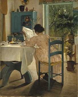 Breakfast, 1898, Laurits Andersen Ring, Painting, Woman