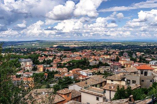 Landscape, Italy, Latium, Nature, City, Clouds, Sky
