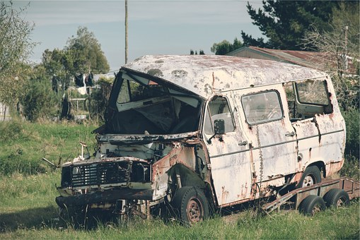 Truck, Old, Damaged, Rust, Scrap, Broken, Junk, Yard