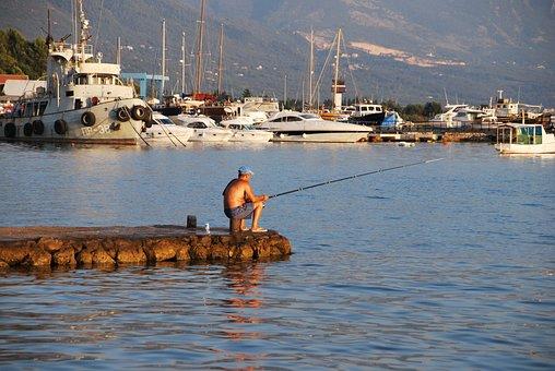 Fisherman, Fishing, Montenegro, Sea, Yacht, Nature