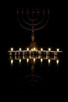 Menorah, Candles, Candlestick, Tealight, Fire, Flame