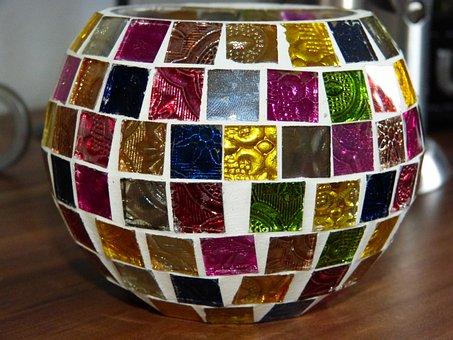 Tealight, Lantern, Colorful Glass, Glass Art