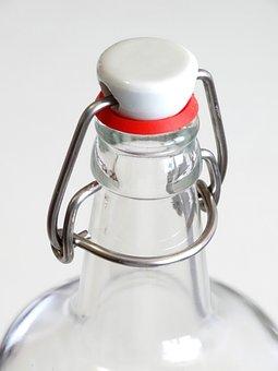 Iron Lock, Glass Bottle, Bottle, Water Bottle