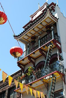 China Town, Building, Lanterns, San Francisco, Asia