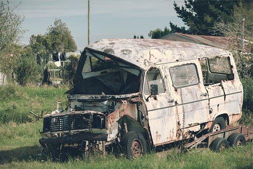 Truck, Old, Damaged, Rust, Scrap, Broken, Junk, Yard
